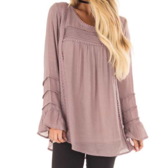 c63a2914c4c657 Lime Lush Tops | Dusty Lilac Bell Sleeve Top With Lace Detail | Poshmark